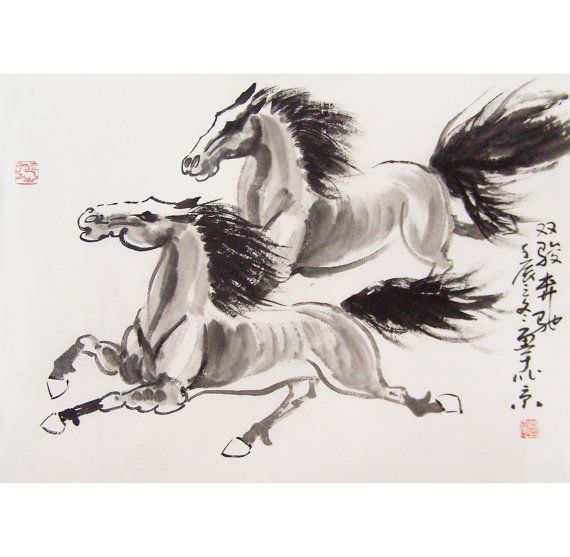 original horse painting chinese painting ink painting  by art68, $54.00