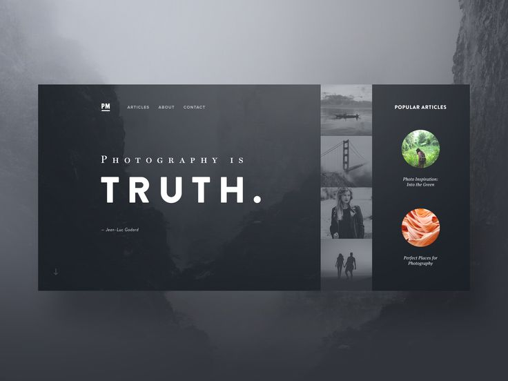 Dribbble - Photo-Stories-Hero-Exploration-Dark-Hi-Res.jpg by Ben Schade