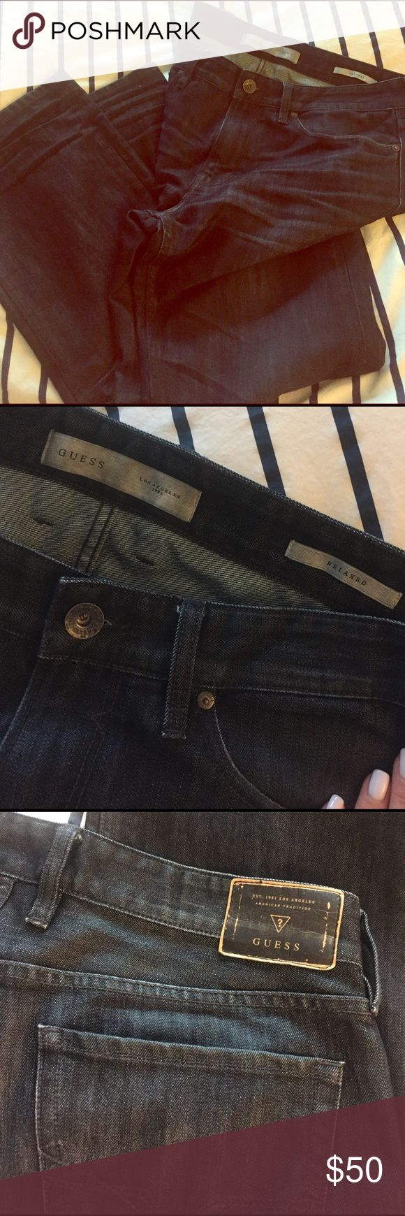 Guess men's relaxed dark denim. Excellent condition dark denim Guess jeans. 34x30. Relaxed fit. Guess Jeans Relaxed