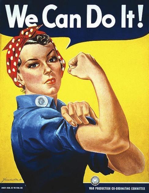 Cartel de la Segunda Guerra Mundial con el cartel del Movimiento Feminista