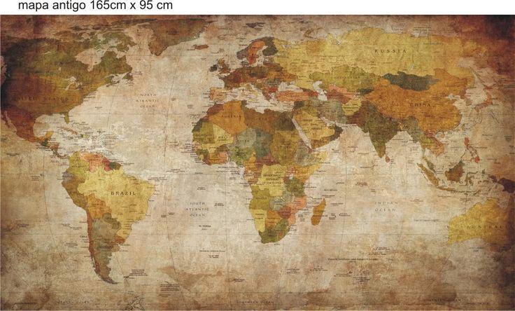 Adesivo de parede mapa mundi em letras rln123 paredes a - Papel pared mapa mundi ...
