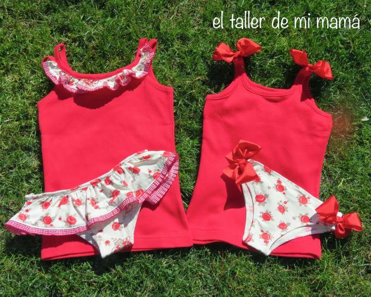 Conjunto de bikini y camiseta para hermanas en rojo