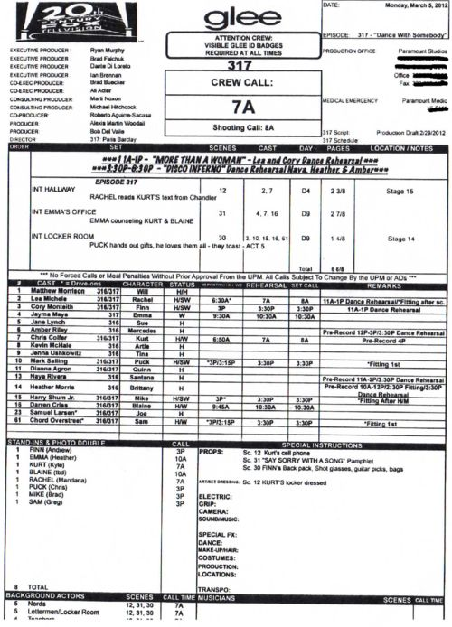 call sheets - Google Search