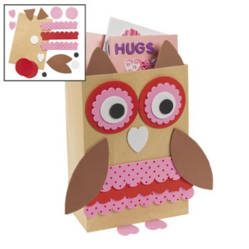 owl valentine holder craft kit you could make these with brown paper bags or cereal boxes would be cute for back to school bags - Valentines Bags Ideas