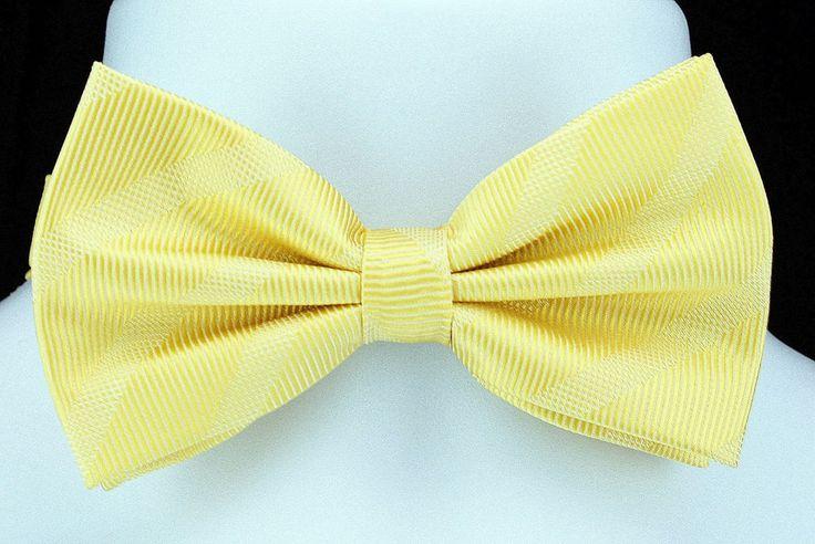 New Yellow Tone On Tone Bow Tie + Hanky Hankie Tuxedo Wedding Fashion Bowtie Set #VenettoCollection #BowTie