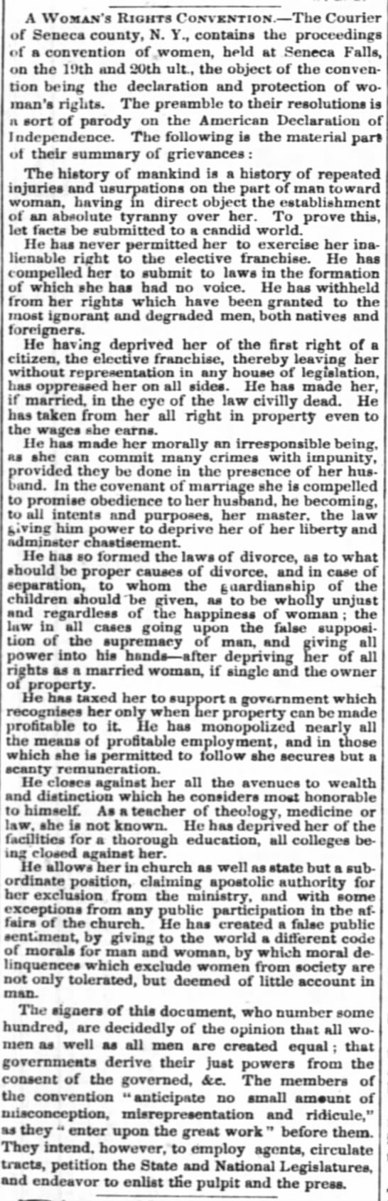 """Inalienable Rights to the Elective Franchise""..!!! Woman's Rights Convention at Seneca Falls, NY, 1848. - on Newspapers.com"