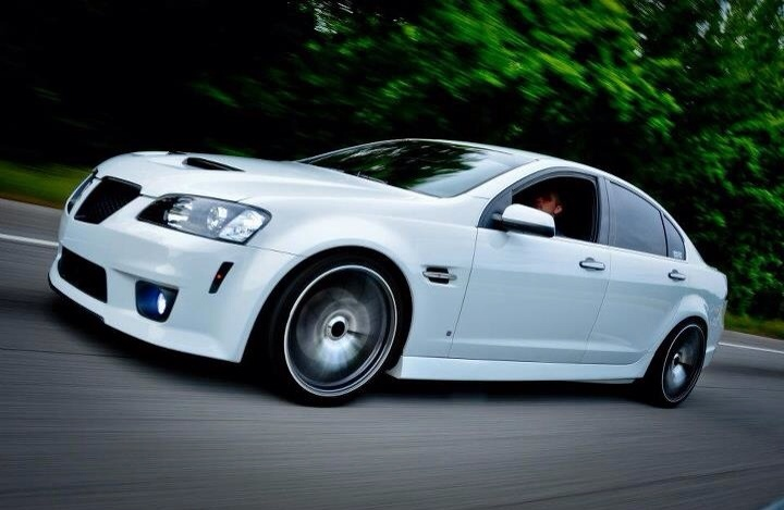 My car, Pontiac G8.  Would love to see this car not in motion to check out the wheels they have on it.