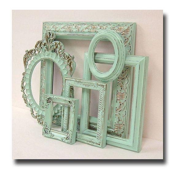 Shabby Chic Frames Pastel Mint Green