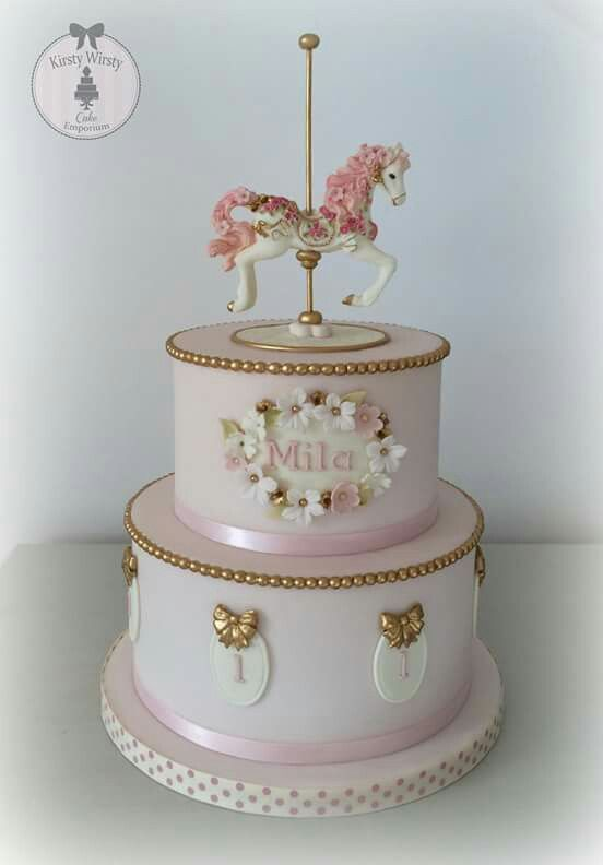 Carousel cake for a firs birthday! So elegant and beautiful!