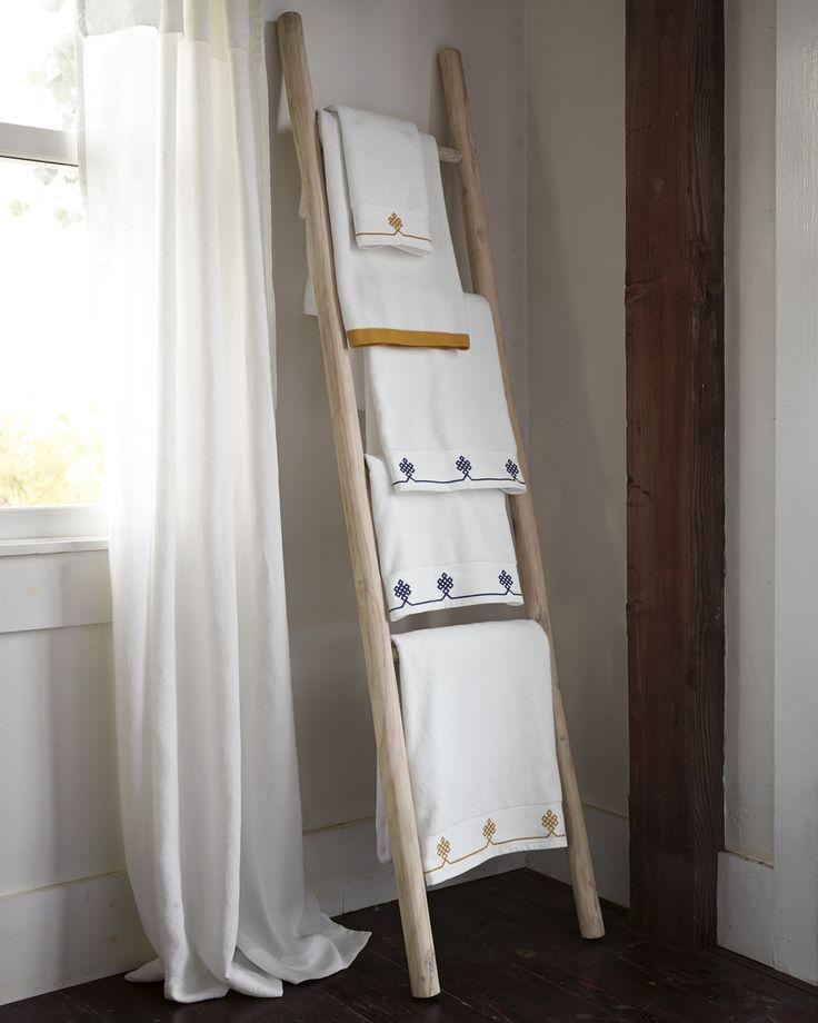 whitewashed teak teak ladder bathroom to hold towels