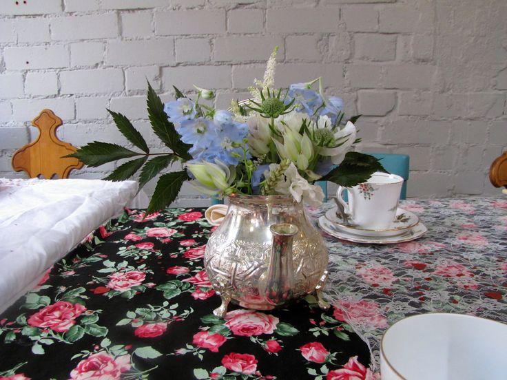Scabiosa, Delphinium and Astilbe Moroccan teapot table centre piece