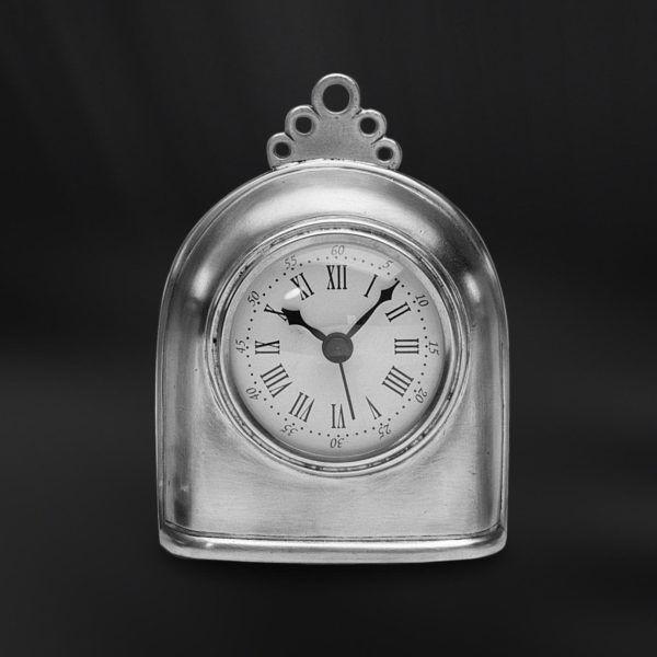 Pewter Clock - Width: 10,5 cm (4,1″) - Height: 14 cm (5,5″) - #pewter #clock #peltro #orologio #zinn #uhr #étain #etain #horloge #peltre #tinn #олово #оловянный #gifts #giftware #home #housewares #homewares #decor #design #bottega #peltro #GT #italian #handmade #made #italy #artisans #craftsmanship #craftsman #primitive #vintage #antique