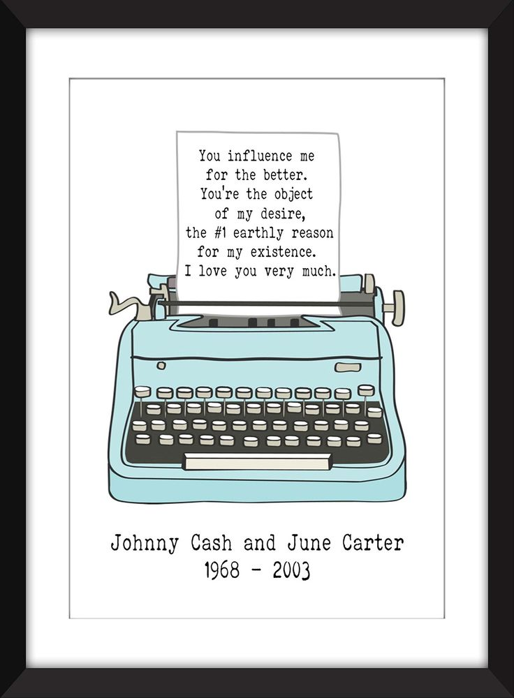 Johnny Cash Romantic Love Letter 11 x 14/8 x 10/5 x 7 A3/A4/A5 Print , Gift for Valentines Day