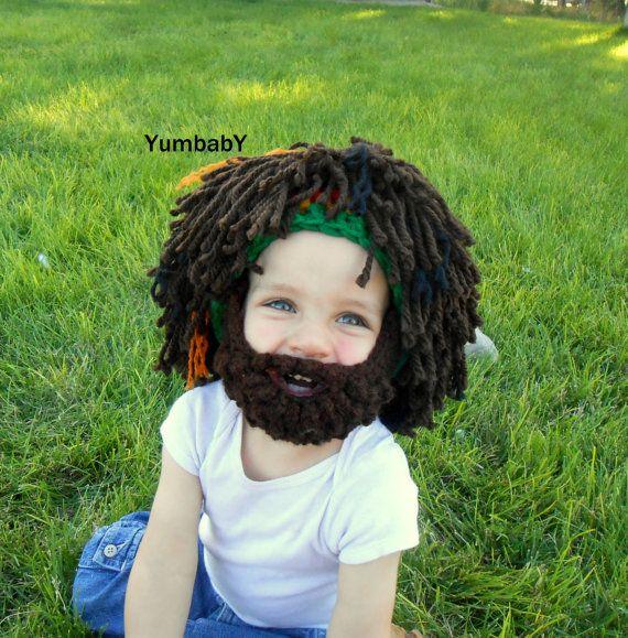 Rasta Hat Bearded Beanie, Rasta Hat, Costumes for kids, Costumes for boys, Beard hat on Etsy, $29.95