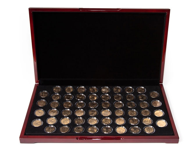 Gold Plated 56 US State Quarter Collection in Glossy Flat Display Box   # 40-0035-CA   All 50 US States and 6 US Territories have their individual stories commemorated with these visually stunning coins.    This limited edition set can now be yours.  www.shopnumis.com/lanily