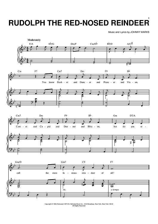 Christmas piano sheet music free rudolph printable for Best piano house tracks