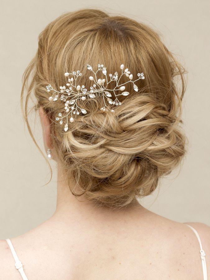 Elegant Pearl And Crystal Vine Bridal Hair Comb Portia