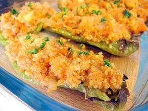 Pimientos verdes rellenos de quinoa con verduritas 17