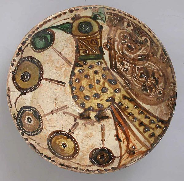 Bowl, Earthenware with White slip and Polychrome Decoration. Gurgan, Iran, Islamic, 11th century.