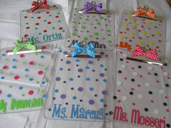 Quantity 8 Personalized with name clear acrylic clipboard, flowers, polka dots or other design, back to school