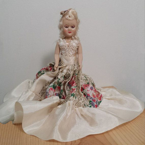 Vintage Plastic Doll in a White Satin and Lace Dress with White Hair and Light Blue Sleep Eyes, Vintage Toy. For Sale by DanushasCollectibles vintage Etsy shop.