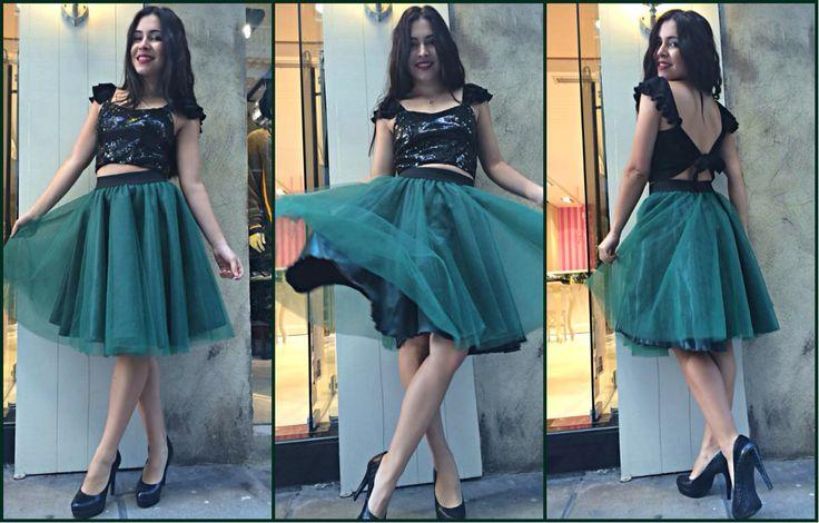 Green Princess tutu & sequin top