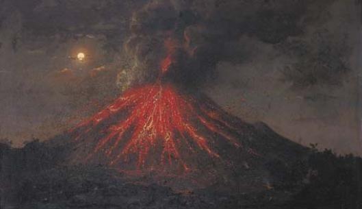 Raden Saleh - The eruption of Mt. Merapi at night, Java