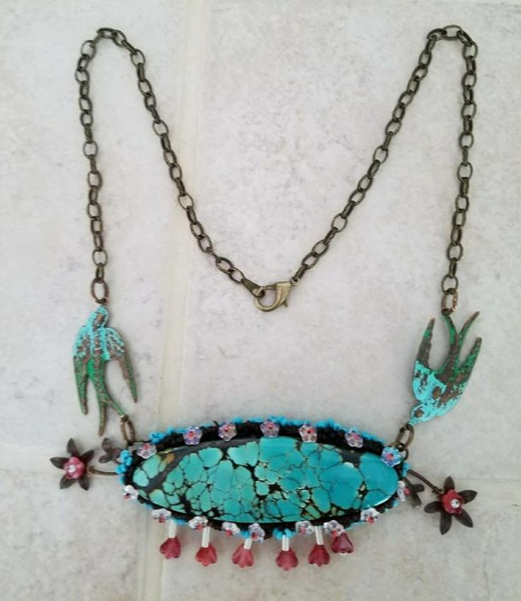Turquoise and plum blossoms necklace by Dreamsweaver