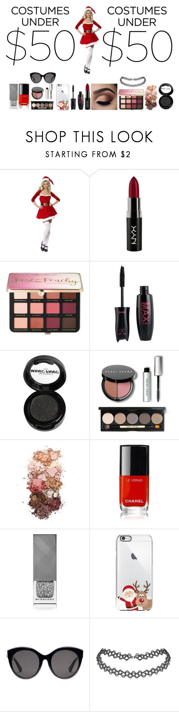 """""""Santa's Little Helper"""" by ursulachenui on Polyvore featuring NYX, Sephora Collection, Manic Panic NYC, Bobbi Brown Cosmetics, Sigma, Chanel, Burberry and Gucci"""