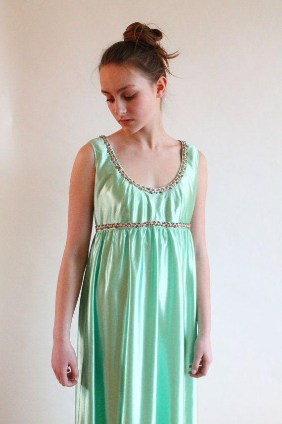 grecian dress  70s empire waist dress by QuinceVintage on Etsy