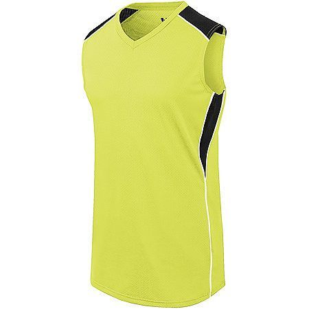 The Women's Dynamite Softball Jersey is a form fitting sleeveless jersey constructed of 92% polyester / 8% spandex for superior comfort and breathability. It features a v-neck collar line, sleeveless