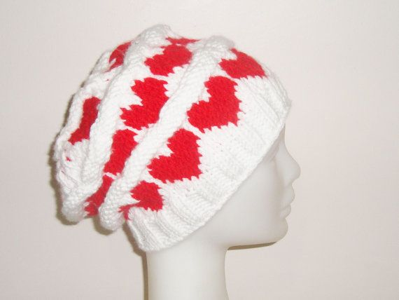 Love Knit Hat for Teen Girls or Womens Hat in White by earflaphats