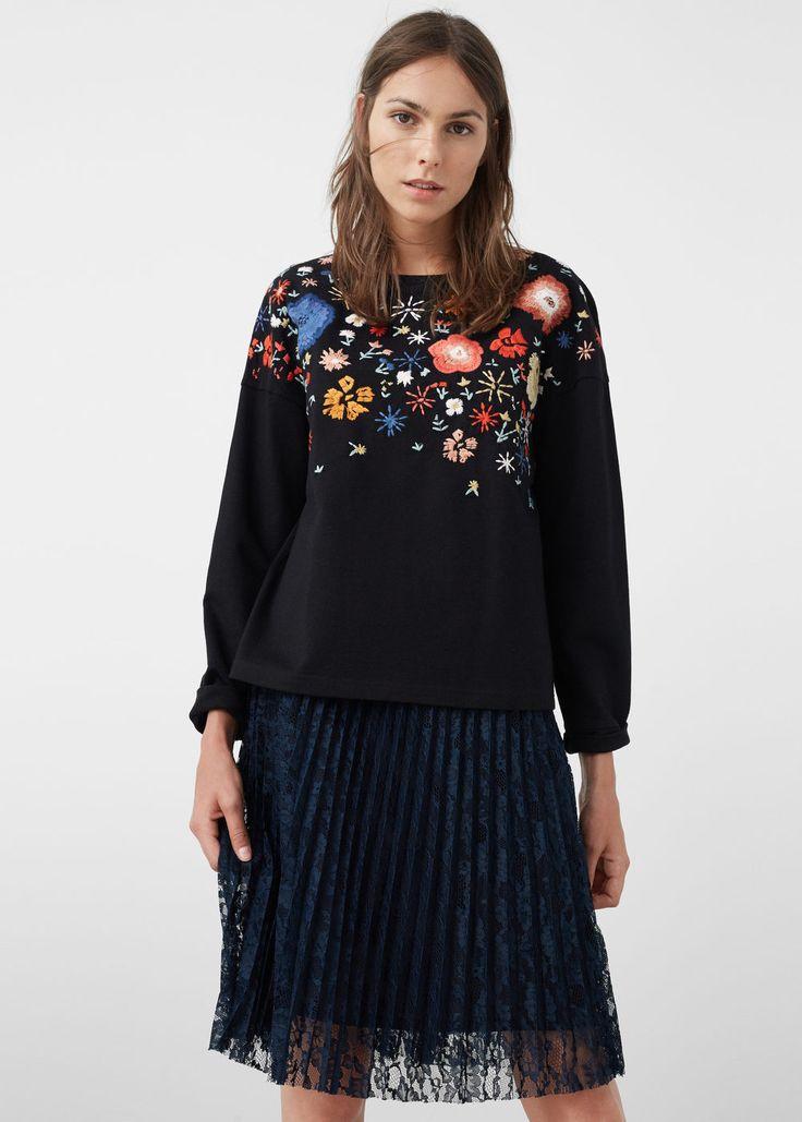 Sweatshirt mit floraler stickerei - Sweatshirts für Damen | MANGO Deutschland