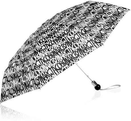 Marc By Marc Jacobs Linear Logo Printed Compact Umbrella in Black