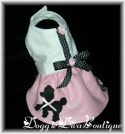 Dog Poodle Skirt Dress Costume 50's Pink xxs by DoggieDivaBoutique, $30.99