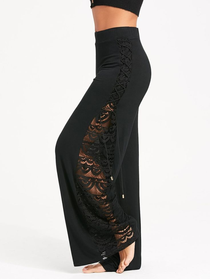 Criss Cross and Lace Panel Palazzo Pants - BLACK M