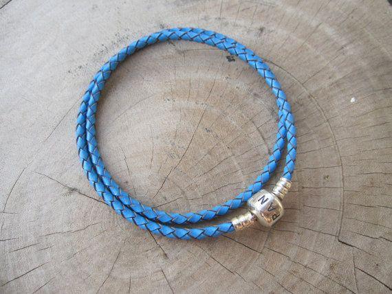 Pandora leather braceletSTERLING SILVERNeon bluePandora by ALOR925