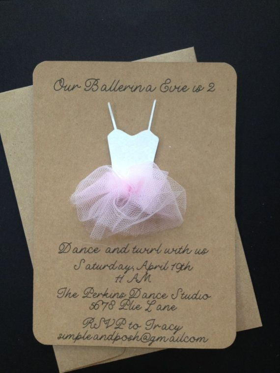 Ballerina with Tulle Tutu Invitations Custom Made by SimpleandPosh