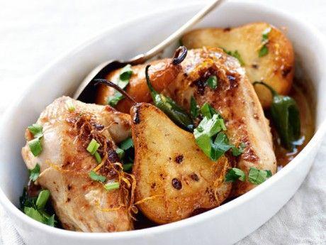Kryddig kyckling med ingefära och päron