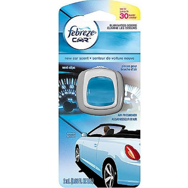 Febreze Car Vent Clip Air Freshener, New Car 1 ea (Pack of 4)
