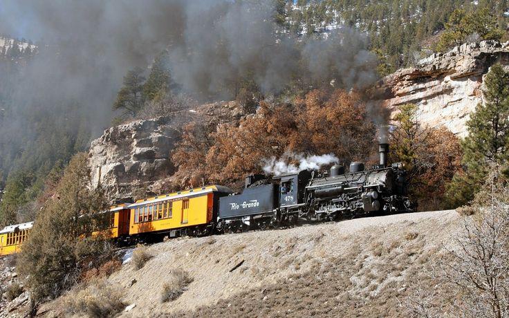 trem, locomotiva a vapor, vapor