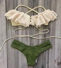 Femmes Sexy Dentelle Bikini Top Cut Out Dame Triangle Maillots De Bain Fond Rétro Maillot de Bain Soutien-Gorge Rembourré Femelle Maillots De Bain(China (Mainland))