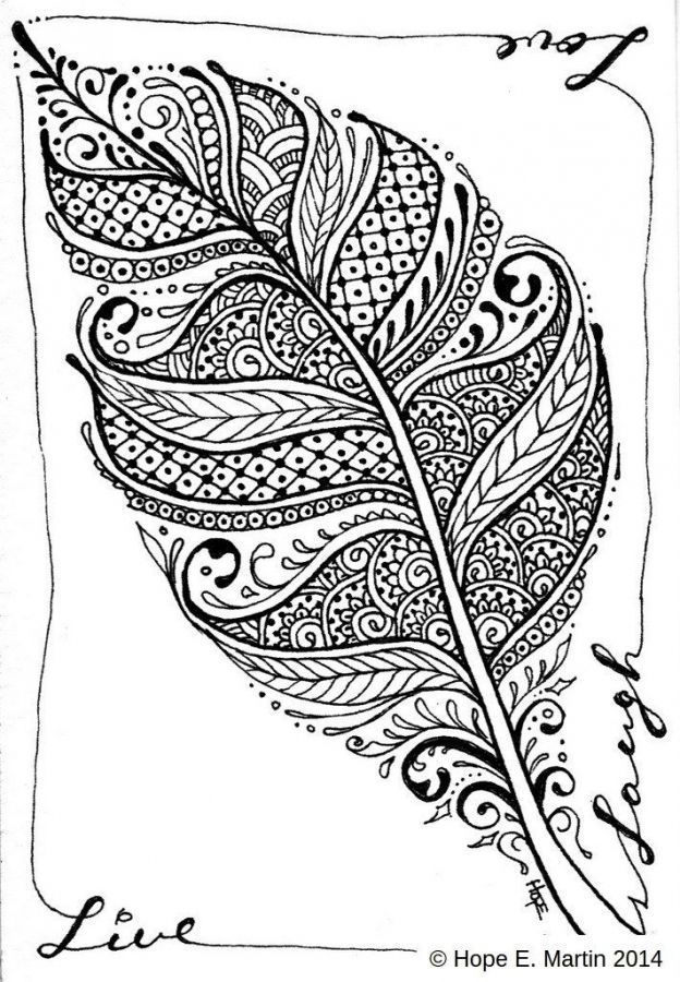 feather abstract coloring pages for adults