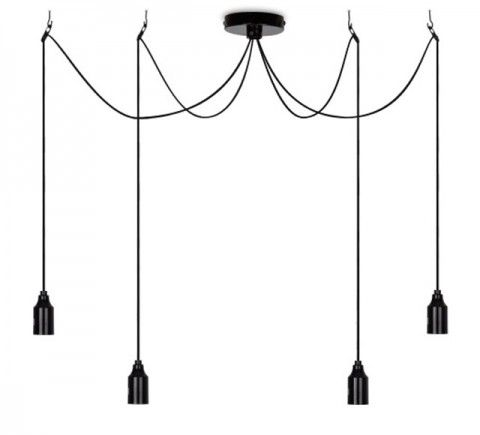 Minimalist style 4 super long hanging pendants - over 4 metres long each! When used with eddison style light bulbs it creates a fabulous vintage style http://www.purelecelectricalsupplies.co.uk/light-fittings/vintage-style-lighting/vintage-light-fittings/Minimalist-4-Lamp-Hanging-Pendant-Black