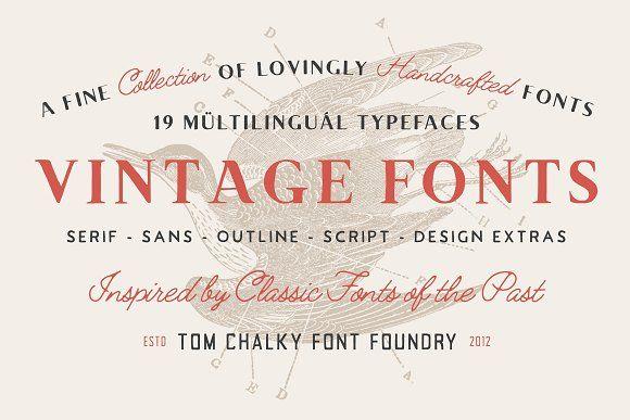 19 Vintage Fonts Bundle Extras Vintage Fonts Font Bundles Font Packs