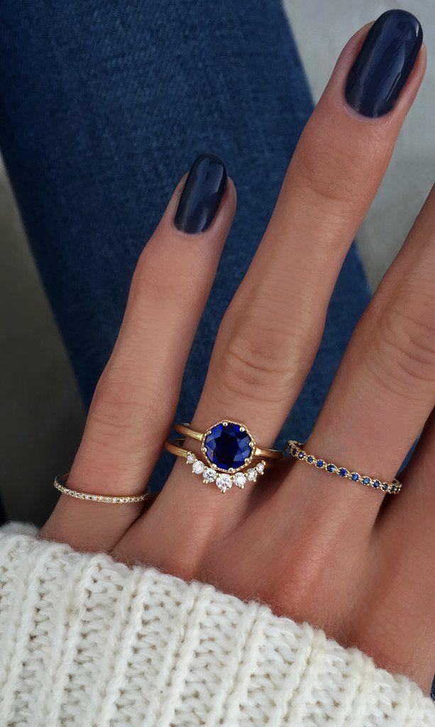 14kt gold milgrain blue sapphire octagon ring – …