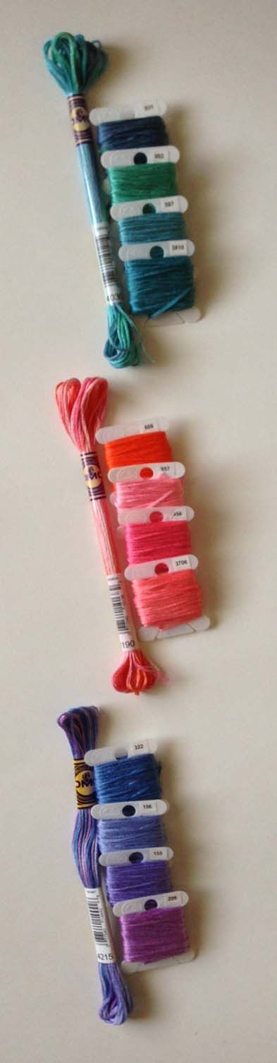 Matching solid colors for DMCs Color Variations Embroidery Floss and Pearl Cotton - chart of matching numbers on DMC at http://dmc-threads.com/emmas-helpful-hints/