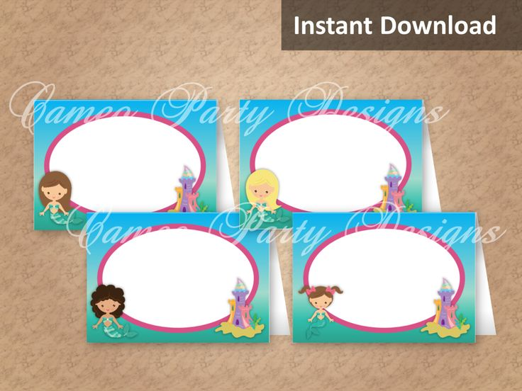 Label your party with these printable under the sea food tents or use as place cards! Find more mermaid party decorations at CameoPartyDesigns.etsy.com #mermaidparty #underthesea #partydecorations