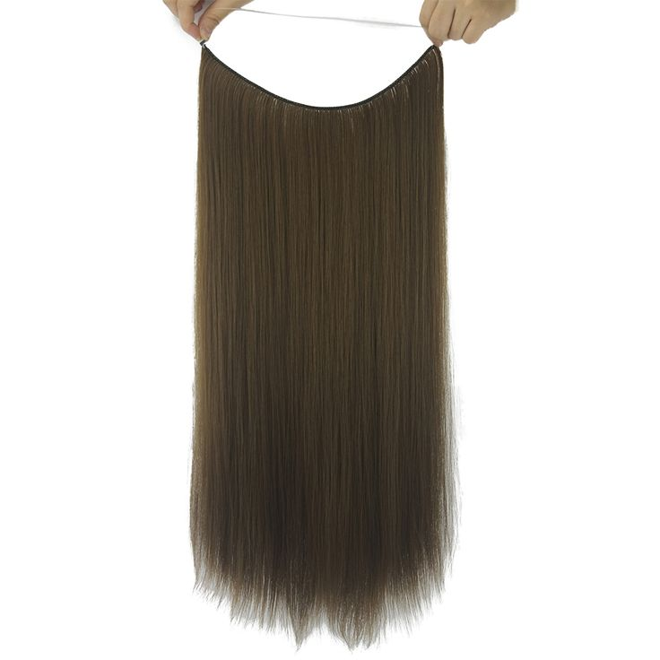 Soowee 10 Colors Long Straight Gray Black Synthetic Hair Extensions Fish Line Halo Invisible Hair Heat Resistant Hairpiece