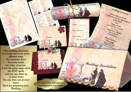 With this great little kit, you can make all your wedding stationary.  The invitation, front and back.  Order of Service.  Name place cards.  RSVP cards,  You could even use it for your menu.  You can dress it up, or use as it is.  Just print out your sheets, then print out your word.with imagination you can do so much. enjoy.